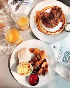 Waffles and Breakfast Burrito